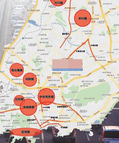 """青岛""""最堵地图""""      交警划分出八条路和八大圈图片"""