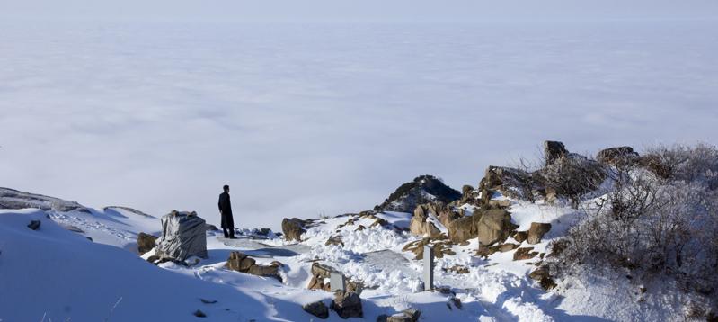 作品简介:                           泰山云海边的观海
