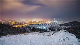 雪后小城夜
