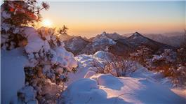 夕阳耀雪境昆嵛