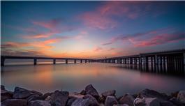 《跨海大桥晚霞美》