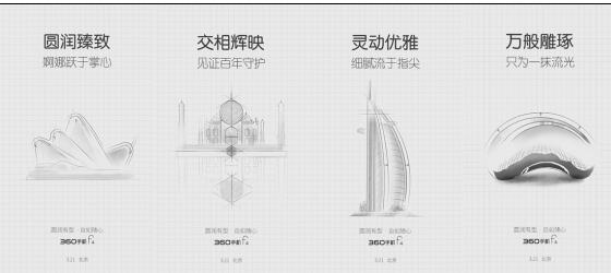 素描图中,圆形结构主楼与倒影形成了对称
