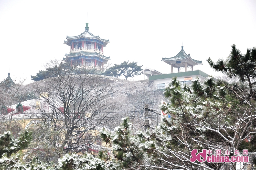 Photo taken on December 11 shows the snow scenery in Qingdao, a coastal city of Shandong Province.<br/>