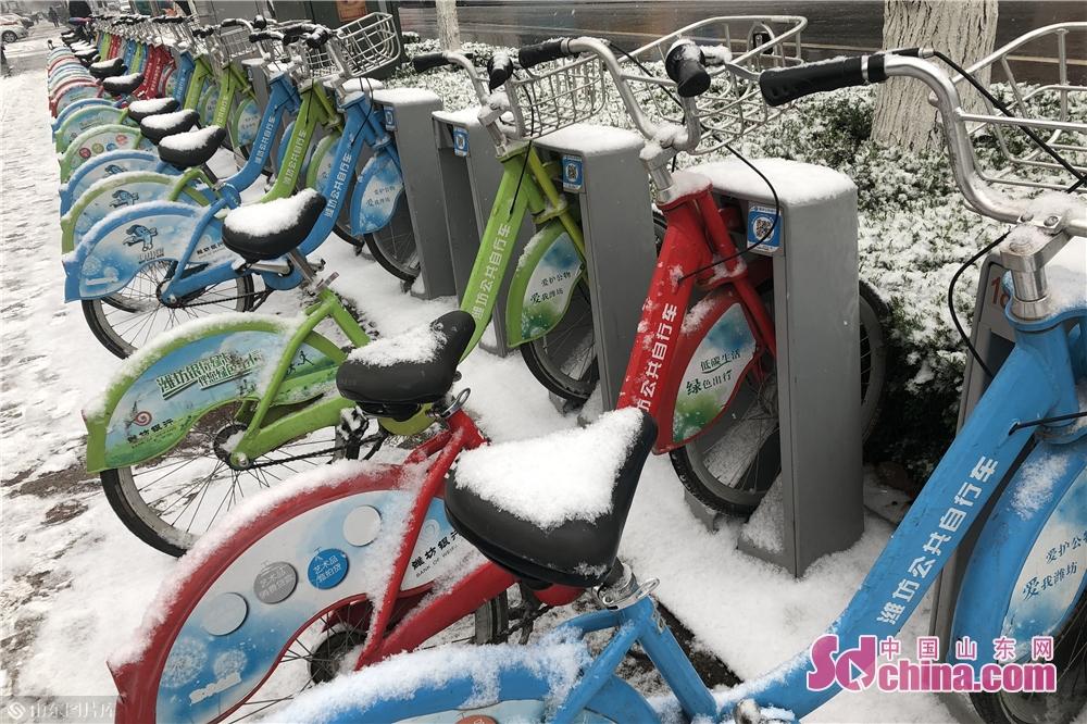 <br/>  公共自行车各个站点均被皑皑白雪覆盖,像是披上了一层厚厚的棉被。<br/>