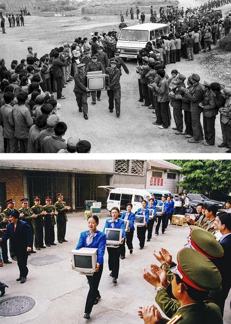《双拥共建》1986年9月,烟威警备区官兵给海阳县五虎村送去彩电和汽车,帮助该村脱贫致富。1997年八一建军节前夕,招远市一民营企业为支持部队科技练兵,赠送10台电脑。(武前才)<br/>