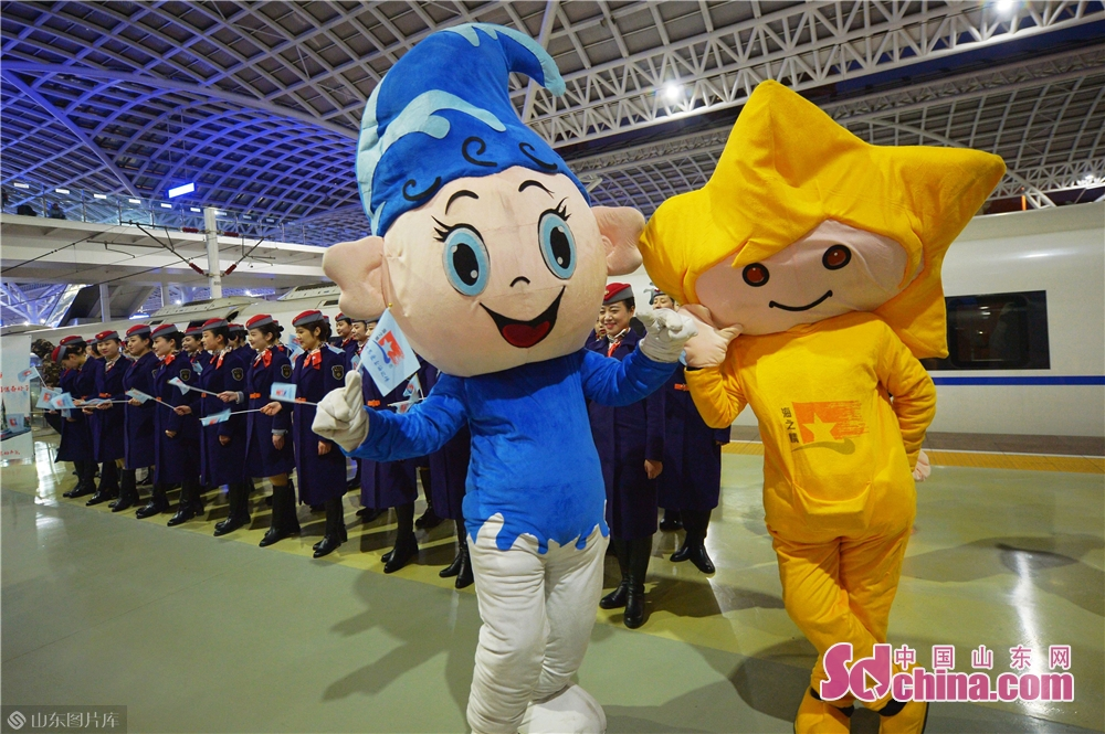 Haihai and Qingqing, mascots of the Qingdao railway section were present at the launching ceremony.