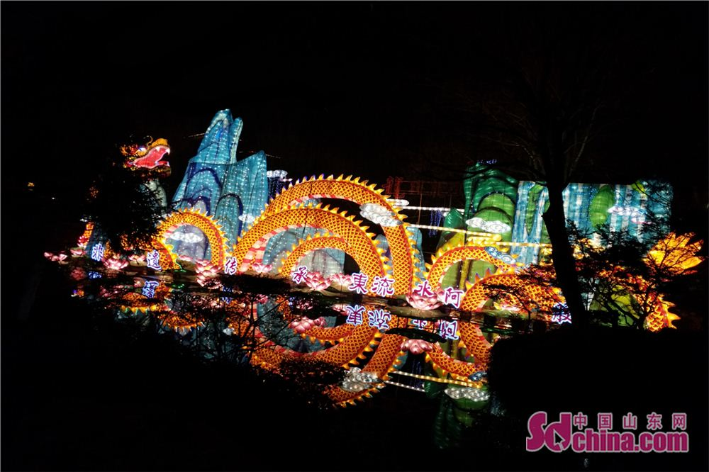Photo taken on Feb. 24, 2018 shows a set of Chinese dragon themed lanterns during a lantern show at Baotu Spring scenic spot in Jinan, capital of Shandong Province. The lantern show will last up to March 7 to celebrate the upcoming Lantern Festival. (Sdchina.com/Zhang Yuanyuan)<br/>