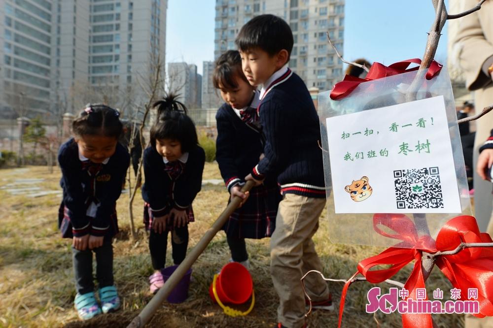 <br/>  2018年3月12日,在青岛立新小学,种植的班级树带有二维码,手机扫码会直接显示树木的名称、习性、种植时间及种植班级。<br/>