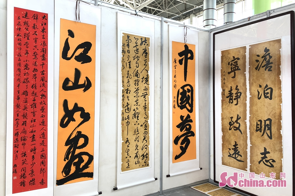 Calligraphy works are on display at theSixth Shouguang Cultural Industries Fair on May 8 in Shouguang City, Shandong Province. Shouguang Cultural Industries Fair, with the theme of &amp;ldquo;be confident in our culture and construct noted cultural city&amp;rdquo;, covers a total area of 1,100 meters and sets up 80 exhibition booths. (sdchina.com/Han Beibei)<br/>