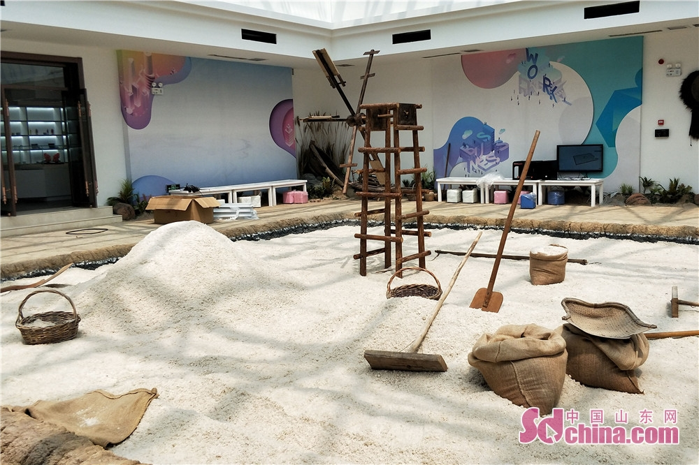 Photo taken on July 28 shows stimulated salt-works in Dongying Salt Culture Museum. Dongying Salt Culture Museum,  the first such  museum in Shandong started the soft opening in Dongying, east China&amp;rsquo;s Shandong Province, on July 28, 2018.<br/>