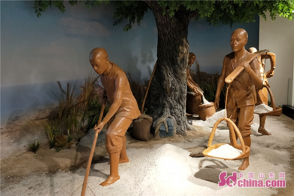 Photo taken on July 28 shows the scaled models in salt-works in Dongying Salt Culture Museum. Dongying Salt Culture Museum,  the first such museum in Shandong started the soft opening in Dongying, east China&rsquo;s Shandong Province, on July 28, 2018.<br/>