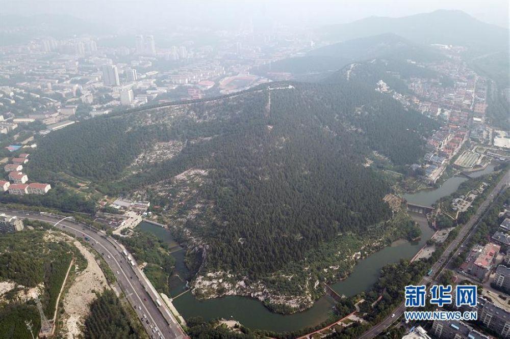 位于济南市舜耕路东的金鸡岭山体公园(7月6日无人机拍摄)。