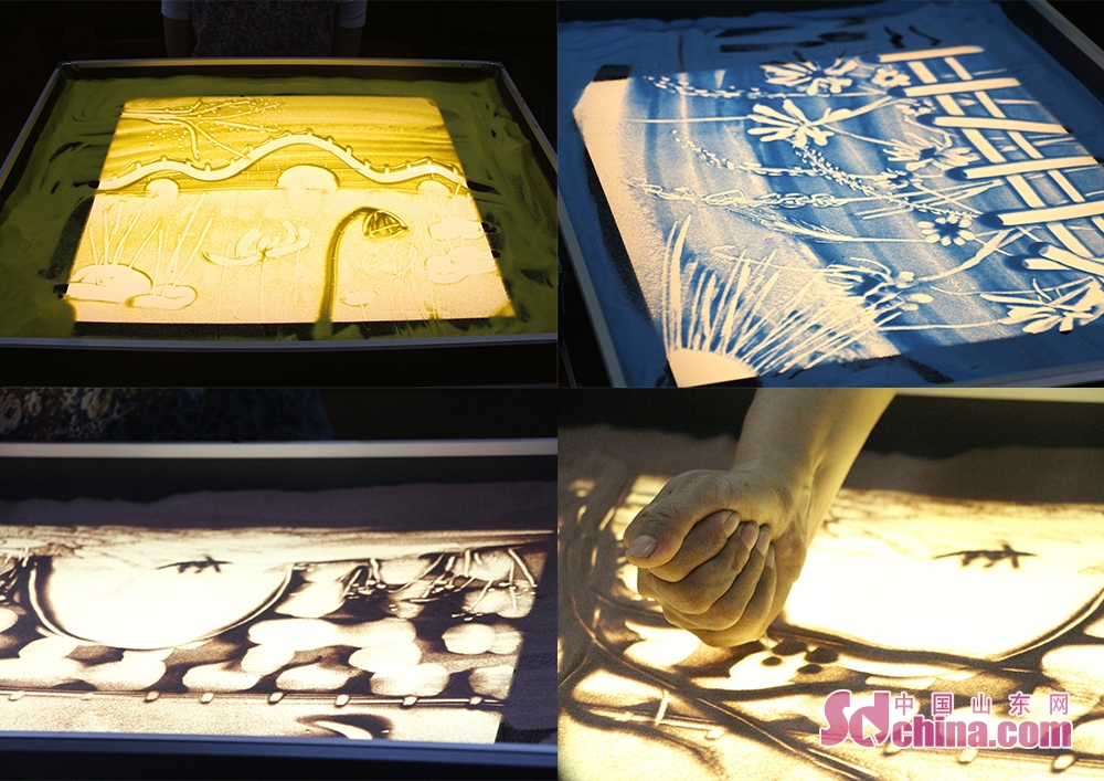 Combo photo taken on August 17, 2018 shows sand paintings in Ni Shan Academy in Daming Lake of Lixia District, Eastern China's Shandong Province. 8 foreigners from different went to Ni Shan Academy to learn sand painting. (Sschina.com/Li Zhen)<br/>