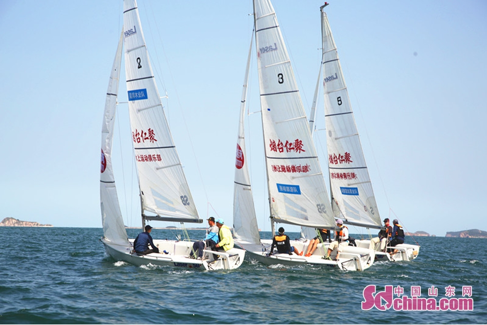 Sailing teams compete during the 8th Yantai Open yatch race on Sept. 27, 2018.<br/>