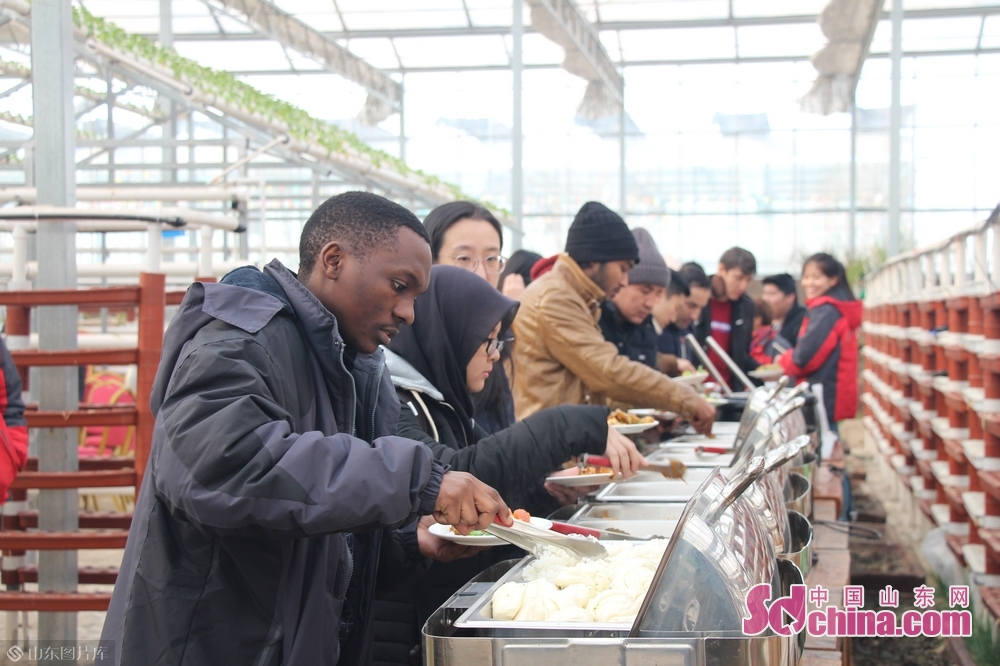 Foreigners eat food made of agricultural products of Huiquan Agro-ecological Park in Zhangqiu District of Jinan, capital of Shandong Province, on January 3, 2019. More than 10 foreign students at Shandong University arrived in Zhangqiu Huiquan Agro-ecological Park to gain intuitive insights into the development of modern agriculture and agricultural tourism in Shandong.