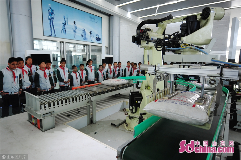 Students learn about the working process of palletizing robot at Qingdao International Robot Center in Qingdao, east China&rsquo;s Shandong Province on Oct. 21, 2019.<br/>