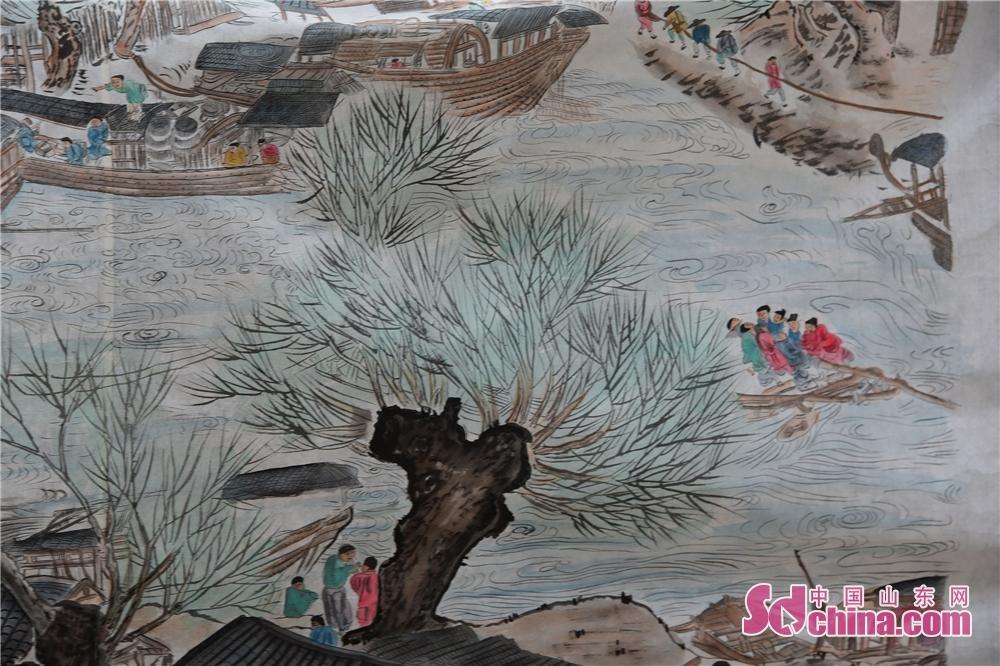 <br/>  2019年2月24日,山东省茌平县杜郎口镇张海子村非遗农民画家张宗源绘就的清明上河图局部。<br/>