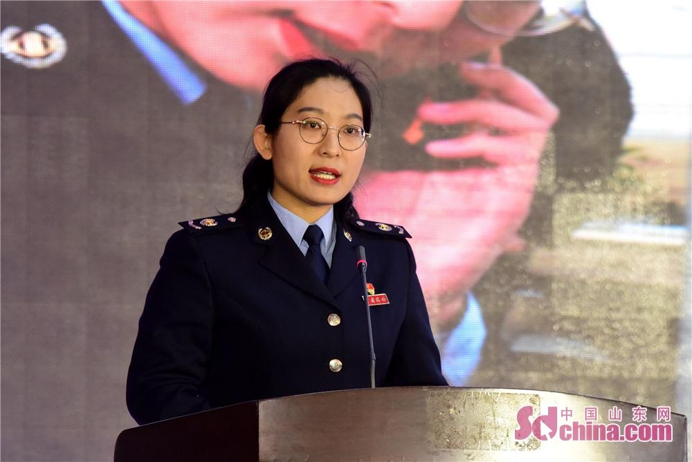 2019年3月6日,茌平县税务局干部袁玉帅在会上讲述自己成长的故事。<br/>