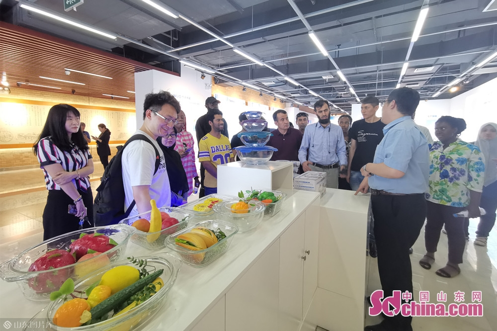 リノ展覧館に入って、留学生はリノグループの発展歴史、重大な事柄、傘下の産業などを理解した。<br/>