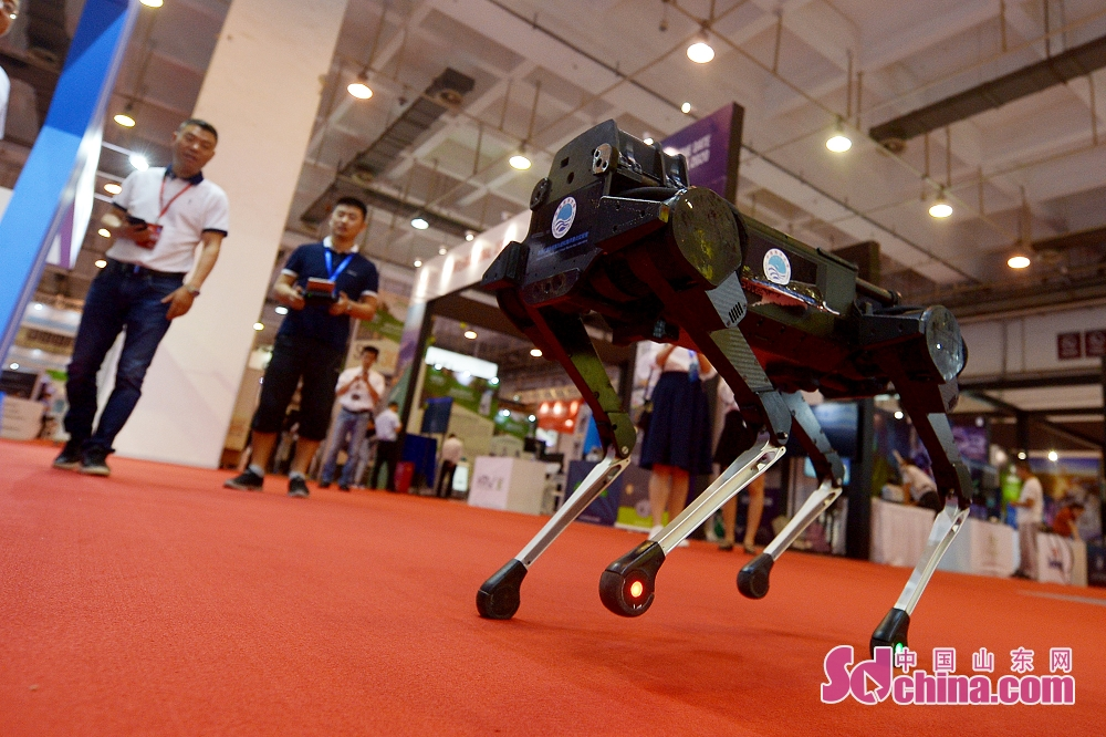 <br/>  6月27日,这是中国海洋大学在国际虚拟现实创新大会上展示的机器狗。<br/>