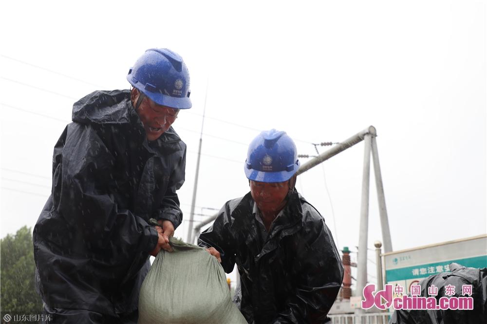 <br/>  国网昌邑市供电公司应急抢修队员冒雨对110千伏都昌站实施紧急消缺作业。<br/>