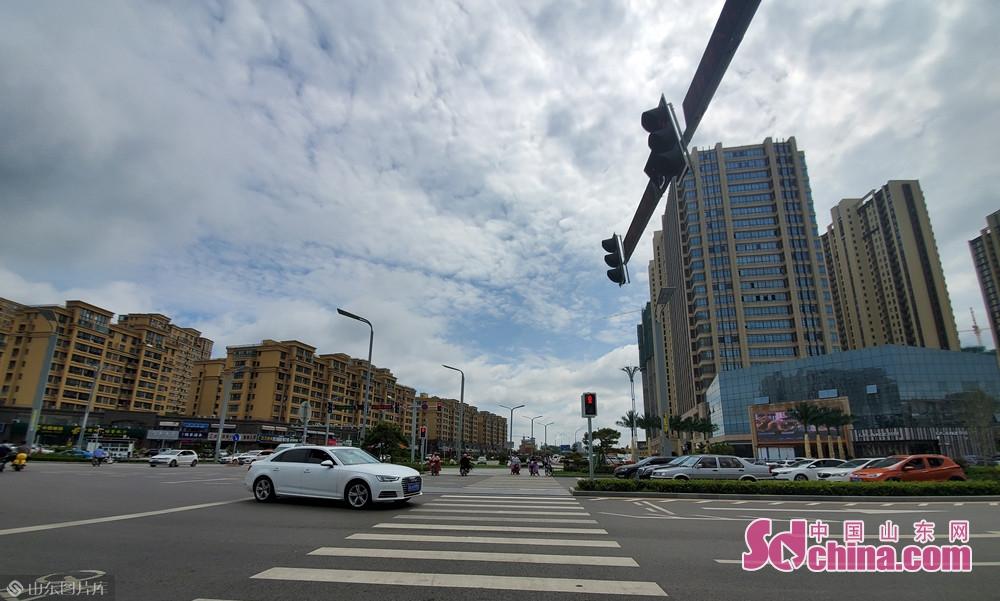 8月13日10点50分, 山东菏泽 雨后的天空显得比平时更晴朗。