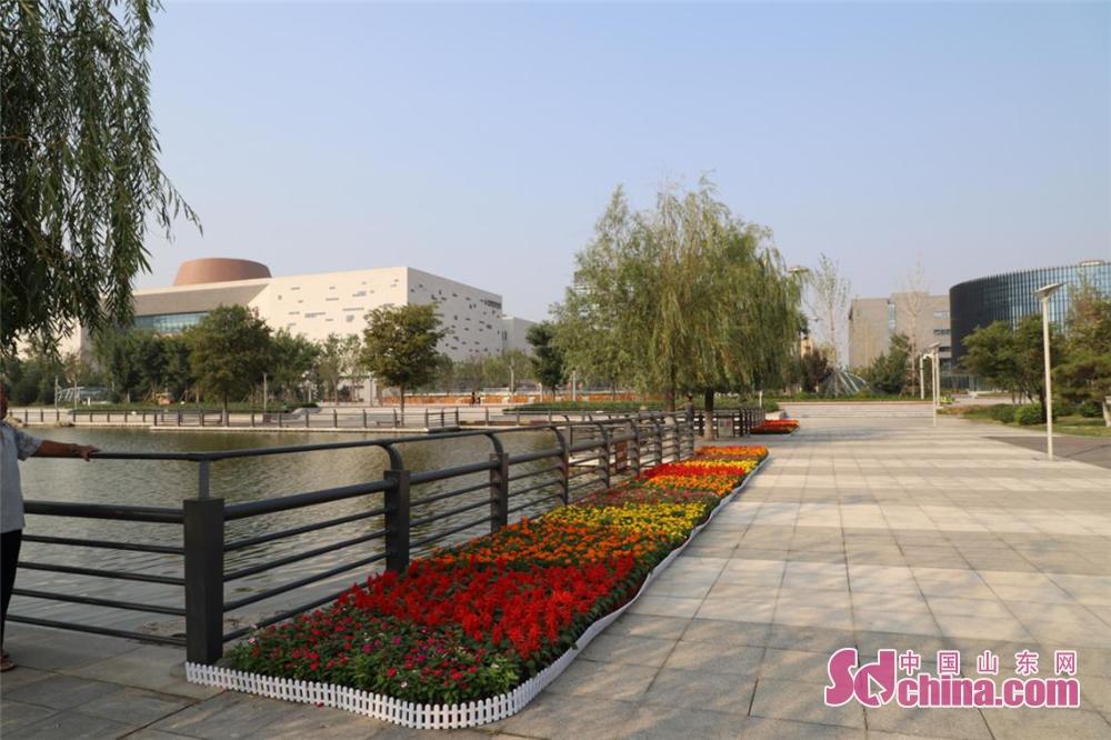 <br/>  水系公园通过摆放鲜花的方式装点新区景观,祝福祖国。<br/>