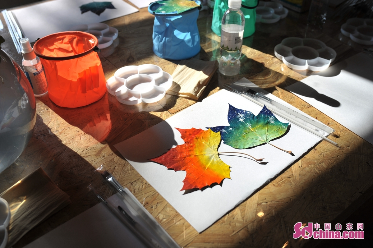 11월 15일, 청도시 '공익과학보급역참' 첫 행사에 놓인 가을꽃잎 장식이다.<br/>