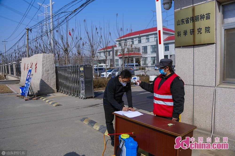 <br/>  3月5日上午,中国山东网记者来到山东伟丽种苗有限公司,进行&ldquo;这就是山东&bull;惊蛰春耕忙&rdquo;直播,进公司前先进行登记测量体温等手续。<br/>