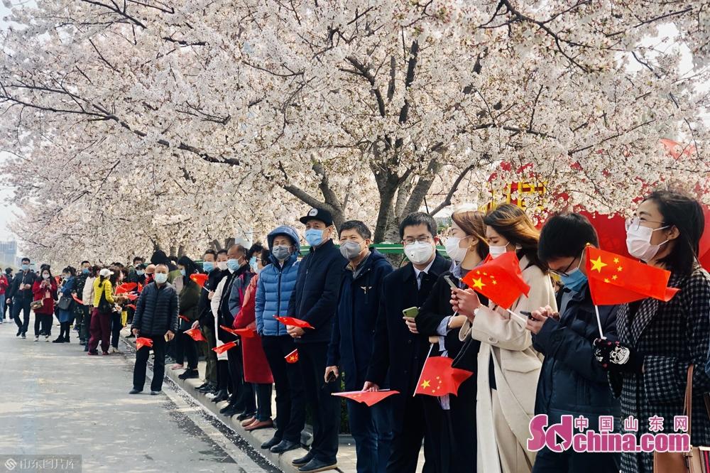 <br/>  潍坊市民自发在人民广场等候凯旋而归的医护人员。<br/>