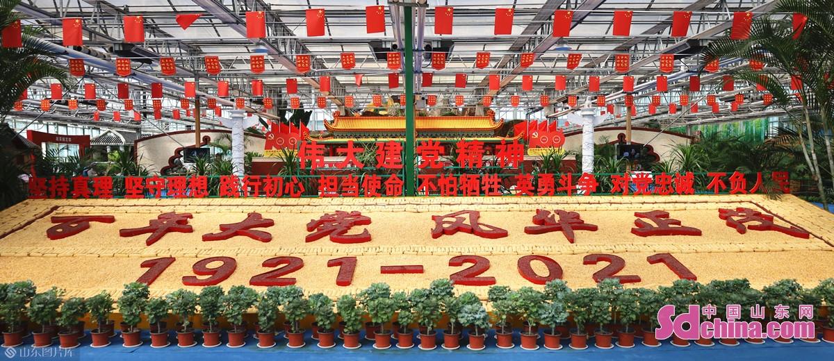 <br/><br/>  为庆祝中国共产党成立100周年,兰陵国家农业公园全力打造了以蔬菜园艺馆为依托的《百年大党 风华正茂》主题展馆,以玉米、红枣、花生、黑豆、姜等沂蒙山地区优质农产品为原材料,展示伟大历史人物及关键历史时刻。<br/>