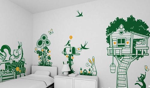 绿色清新手绘墙让你每天都和小动物们有个快乐的约会.