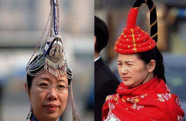 少数民族代表头饰各具特色