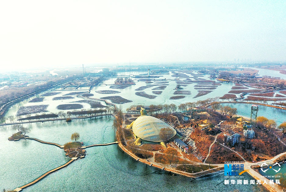 The aerial photo taken on Jan. 1, 2018 shows a view of Baiyangdian, one of the largest freshwater wetlands in north China, in Anxin County, north China's Hebei Province. China announced the plan for Xiongan New Area officially on April 1, 2017. The new area will span Xiongxian, Rongcheng and Anxin counties in Hebei Province, eventually covering 2,000 square kilometers. (Xinhuanet/Mao Heran)<br/>