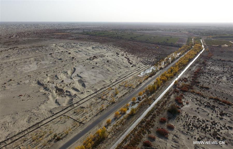 Photo taken on Oct. 21, 2017 shows a country road at the lower reaches of the Tarim River in northwest China's Xinjiang Uygur Autonomous Region. In the past five years, China has seen 1.28 million km of rural roads built or renovated, with 99.24 percent of townships and 98.34 percent of villages connected by asphalt or cement roads. (Xinhua/Zhao Ge)<br/>
