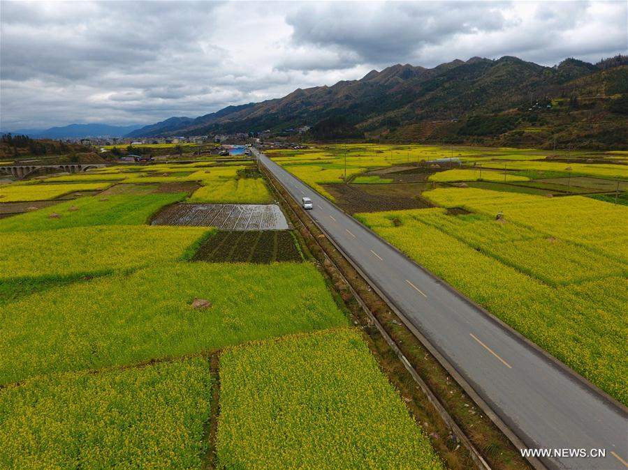 Photo taken on Feb. 8, 2017 shows a road in Rongjiang County, southwest China's Guizhou Province. In the past five years, China has seen 1.28 million km of rural roads built or renovated, with 99.24 percent of townships and 98.34 percent of villages connected by asphalt or cement roads. (Xinhua/Liu Xu)<br/>
