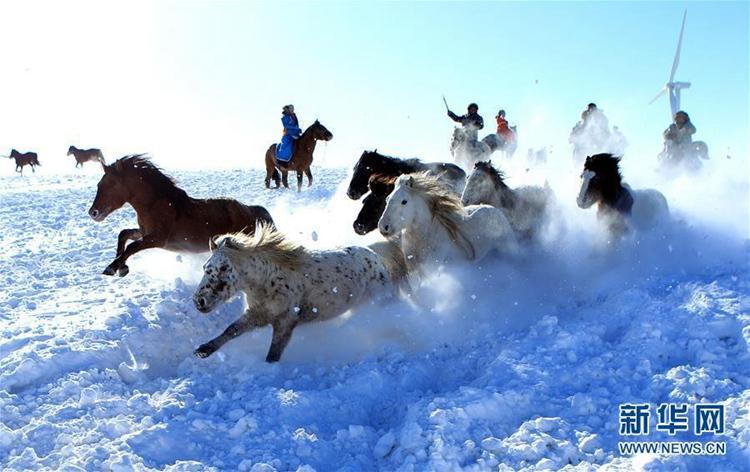 12월 26일 네이멍구(內蒙古, 내몽고) 시린궈러맹(錫林郭勒盟)의 유목민들이 말을 길들이는 모습이다. 겨울철 네이멍구를 찾는 관광객들의 수가 크게 늘기 시작했고 유목민들은 눈밭에서 말을 길들이며 전국 각지에서 온 관광객들을 맞이하고 있다.<br/>