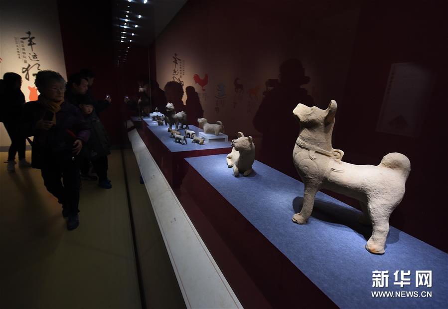 1月5日,观众在参观东汉陶狗(右)等文物。新华社记者孙参摄<br/>