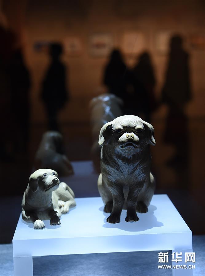 1月5日,清代陶塑狗在展厅展出。新华社记者孙参摄<br/>