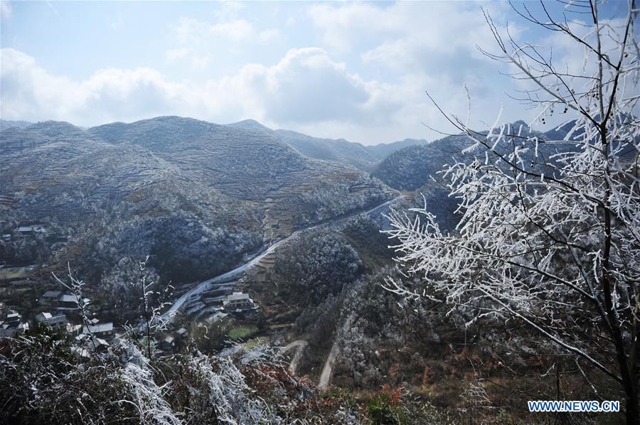 Photo taken on Jan. 9, 2018 shows snow covered landscape in Gelao and Miao autonomous county of Wuchuan, southwest China's Guizhou province. (Xinhua/Tao Liang)<br/>