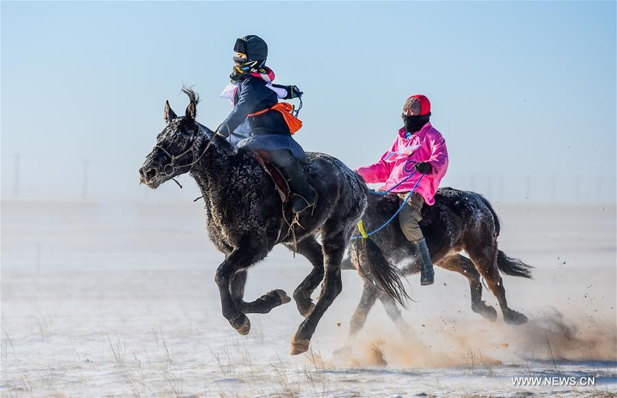 Riders compete in a horse racing in Sunite Right Banner, north China's Inner Mongolia Autonomous Region, Jan. 9, 2018. A camel fair, a local traditional festival including camel race and camel beauty contest, was held in the Banner on Tuesday. More than 200 camels took part in the fair. (Xinhua/Lian Zhen)<br/>