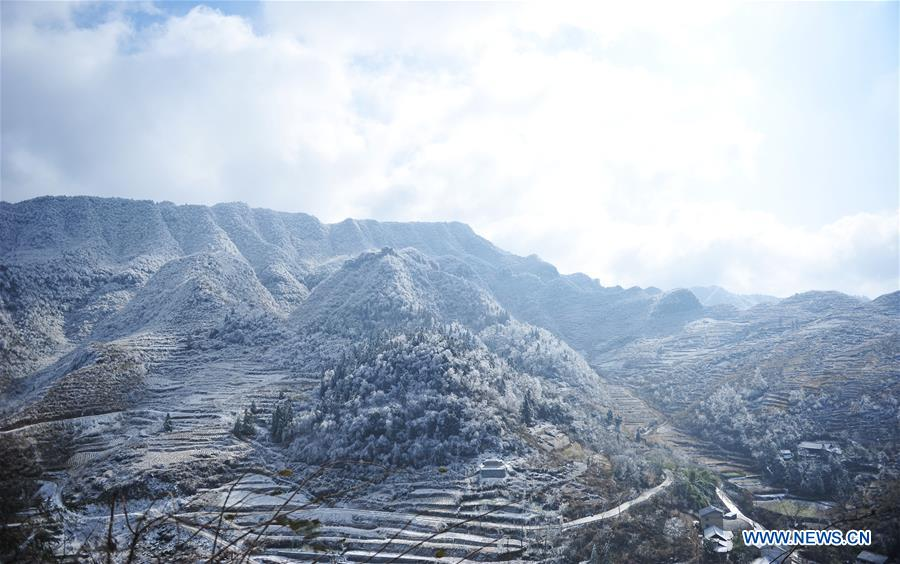 Photo taken on Jan. 9, 2018 shows snow covered landscape in Gelao and Miao autonomous county of Wuchuan, southwest China's Guizhou province. (Xinhua/Tao Liang)