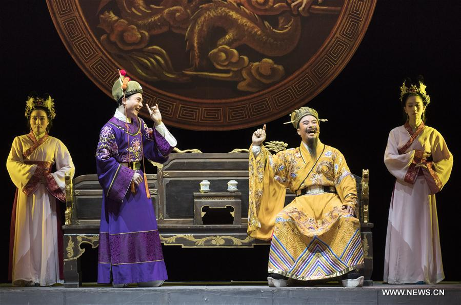 Actors perform Yao Opera Wang Yangming, in Beijing, capital of China, Jan. 15, 2018. Wang Yangming was a famous thinker and philosopher in ancient China's Ming Dynasty (1368-1644). Yao opera is a form of Chinese opera local to Yuyao of east China's Zhejiang Province. (Xinhua/Ju Zhenhua)