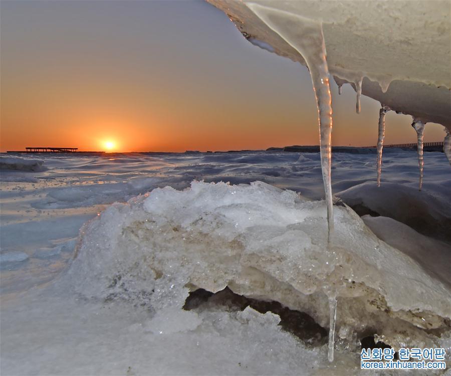 이것은 랴오닝(遼寧)성 시청(興城)시에서 촬영한 해빙이다(1월 16일 촬영).<br/>  최근, 저온의 영향으로 랴오닝성 싱청시 중싱(中興) 바닷가 근처 수면에 큰 면적의 해빙이 나타나 웅장한 경관을 형성했다. [촬영/ 신화사 기자 양칭(楊青)]<br/>