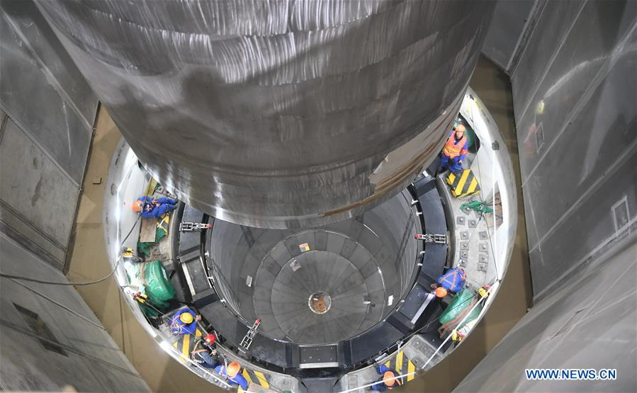 Photo taken on Jan. 28, 2018 shows the installation site of reactor pressure vessel (RPV) of the No.5 unit of China National Nuclear Corporation's Fuqing nuclear power plant in southeast China's Fujian Province. It is China's first demonstration nuclear power project using Hualong One technology, a domestically developed third-generation reactor design. (Xinhua/Lin Shanchuan)<br/>