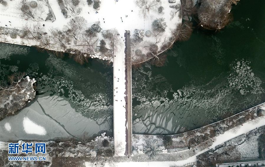 1月28日航拍的雪后的济南大明湖美景。<br/>