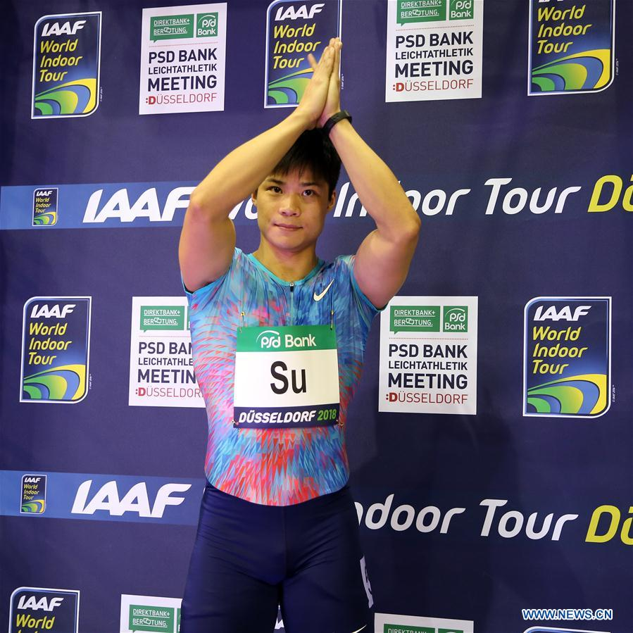 Su Bingtian of China reacts prior to the Men's 60m final of the 2018 IAAF World Indoor Tour in Dusseldorf, Germany, on Feb. 6, 2018. Su Bingtian won the gold with 6.43 seconds. (Xinhua/Luo Huanhuan)<br/>