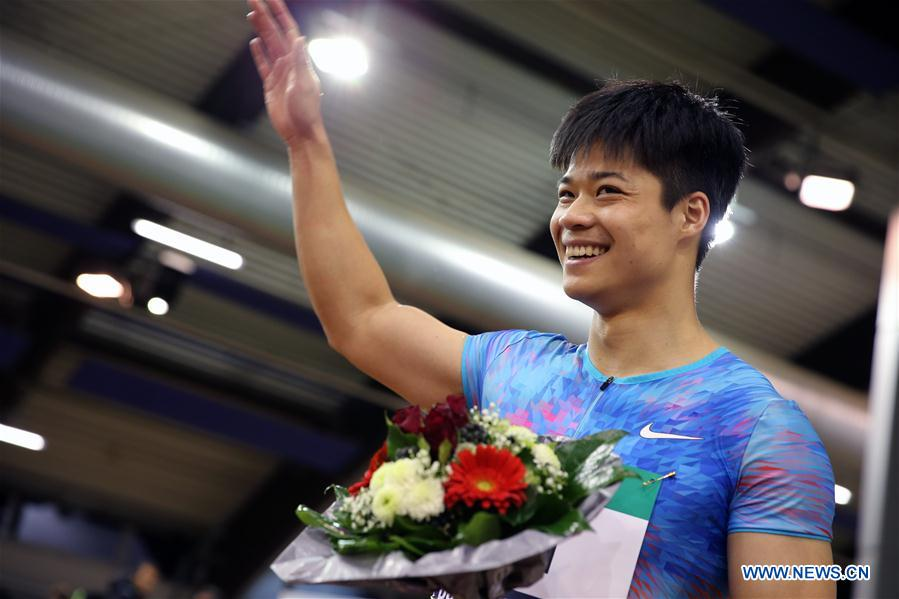 Su Bingtian of China reacts after the Men's 60m final of the 2018 IAAF World Indoor Tour in Dusseldorf, Germany, on Feb. 6, 2018. Su Bingtian won the gold with 6.43 seconds. (Xinhua/Luo Huanhuan)<br/>
