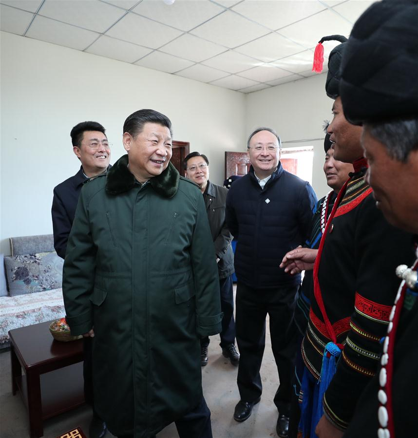 Chinese President Xi Jinping, also general secretary of the Communist Party of China Central Committee, visits the new house of an impoverished villager as he visits Huopu Village of Jiefang Township in Zhaojue County of Liangshan Yi Autonomous Prefecture, southwest China's Sichuan Province, Feb. 11, 2018. Xi made an inspection tour in Sichuan Province on Feb. 11. (Xinhua/Ju Peng)<br/>