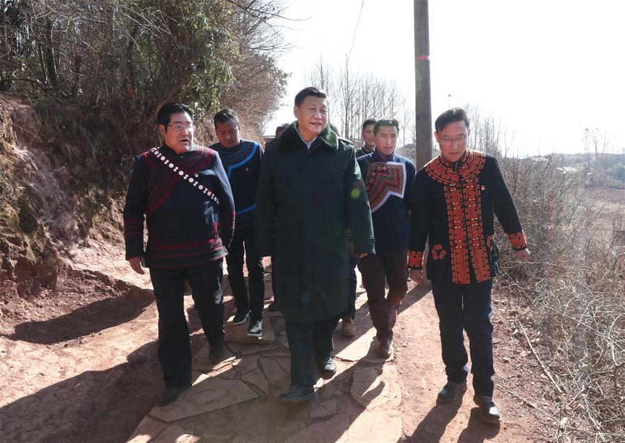 Chinese President Xi Jinping, also general secretary of the Communist Party of China Central Committee, learns about lives of impoverished villagers and listens to the work about targeted poverty alleviation as he visits Sanhe Village of Sanchahe Township in Zhaojue County of Liangshan Yi Autonomous Prefecture, southwest China's Sichuan Province, Feb. 11, 2018. Xi made an inspection tour in Sichuan Province on Feb. 11. (Xinhua/Ju Peng)<br/>